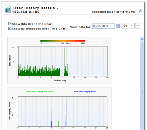 A screenshot of user history details