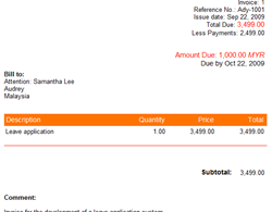 sample web based invoice