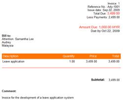 sample web based invoice