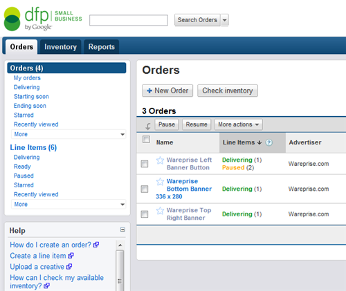 DFP screenshot