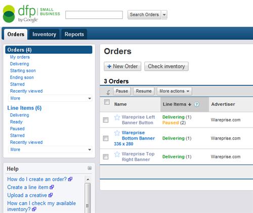 DFP screenshot