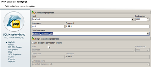 set and choose database connection